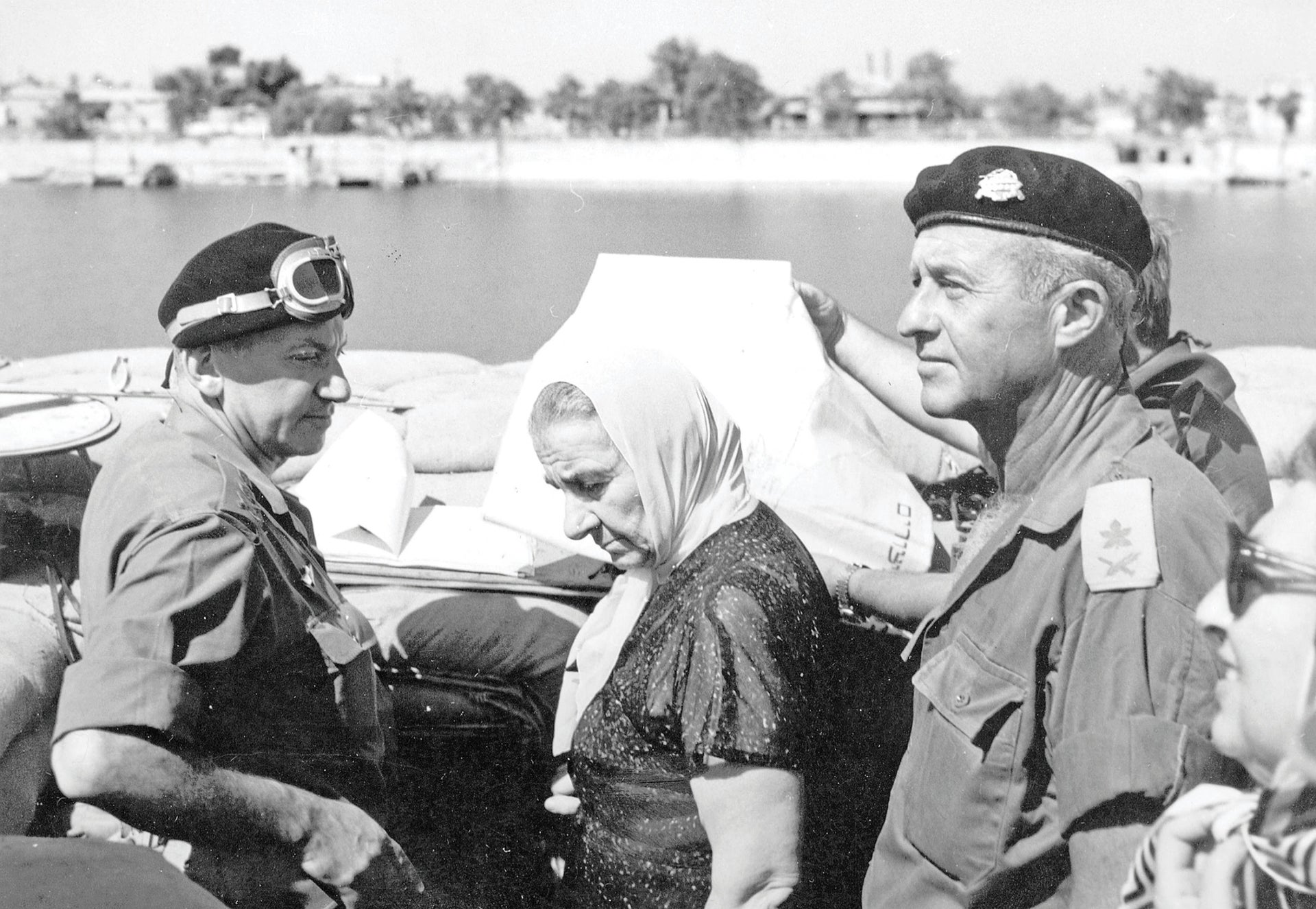 On the banks of the Suez Canal, during the war, from left: Chief-of-Staff Haim Bar-Lev, Prime Minister Golda Meir and IDF Maj. Gen. Dan Laner.