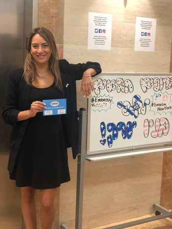 Almog Elijis, the spokeswoman of the Israeli Consulate in New York, pictured after casting her ballot, September 5, 2019.