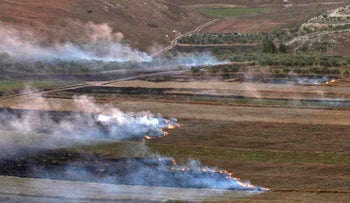 Smoke rising from fires along the border with Israel on the Lebanese side following an exchange of fire, September 1, 2019.