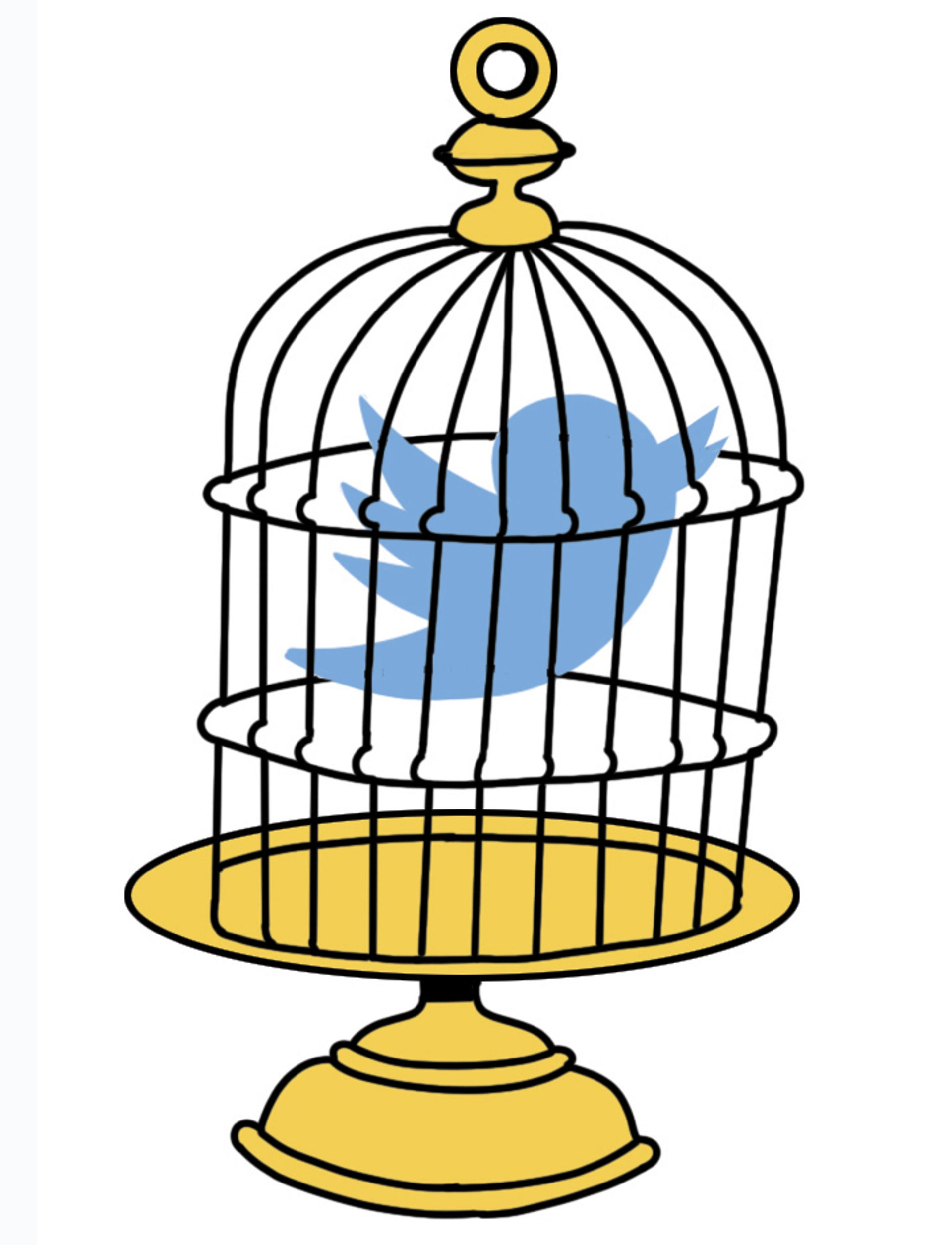 Illustration: The bird-shaped Twitter logo in a cage.