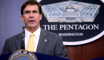 U.S. Defense Secretary Mark Esper holds his first news conference at the Pentagon in Arlington, Virginia, August 28, 2019.