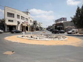 A traffic circle in the West Bank town of Azzoun, August 28, 2019.