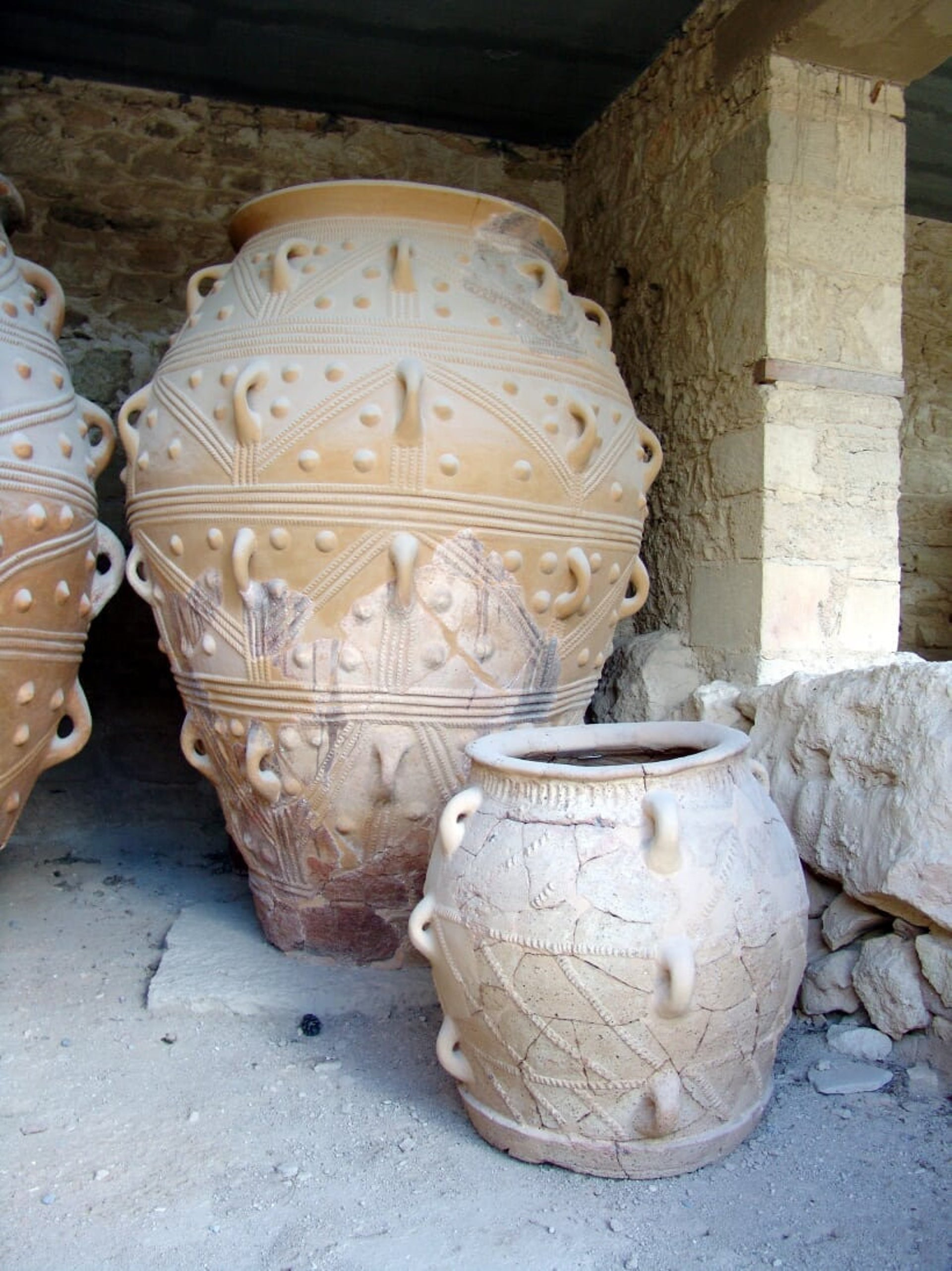 Elaborate pithoi (storage jars) in Knossos
