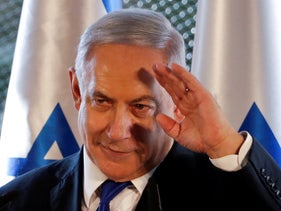 Israeli Prime Minister Benjamin Netanyahu gestures during a state memorial ceremony at the Tomb of the Patriarchs in Hebron, West Bank, on September 4, 2019.