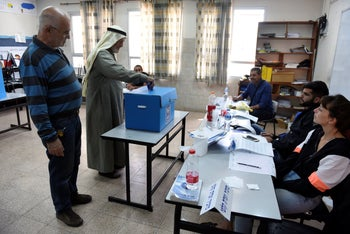 Voters cast their ballots in the Israeli Arab-majority city of Taibeh. in central Israel, April 2019.