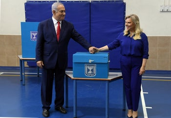 Netanyahu and his wife Sarah at the polling station on Election Day last April, 2019.