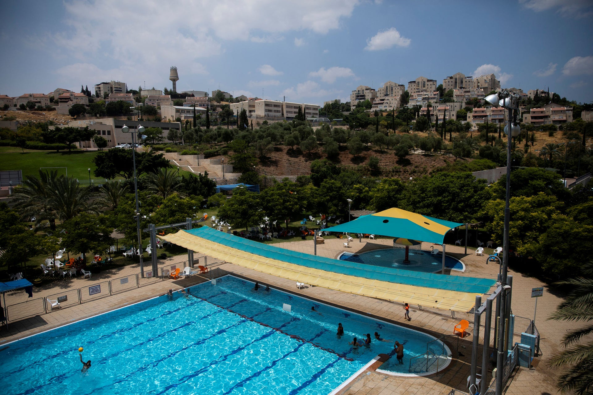 A public pool in the Israeli settlement of Maale Adumim