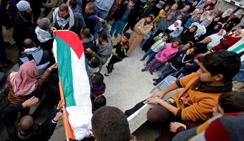 Palestinian mourners carry the body of a terrorist after being released by Israel in the West Bank village of Bani Na'im, December 17, 2016.