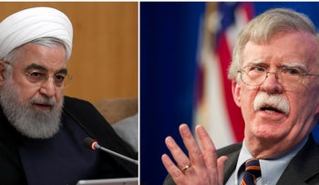 Iranian President Hassan Rohani and former U.S. National Security Adviser John Bolton.