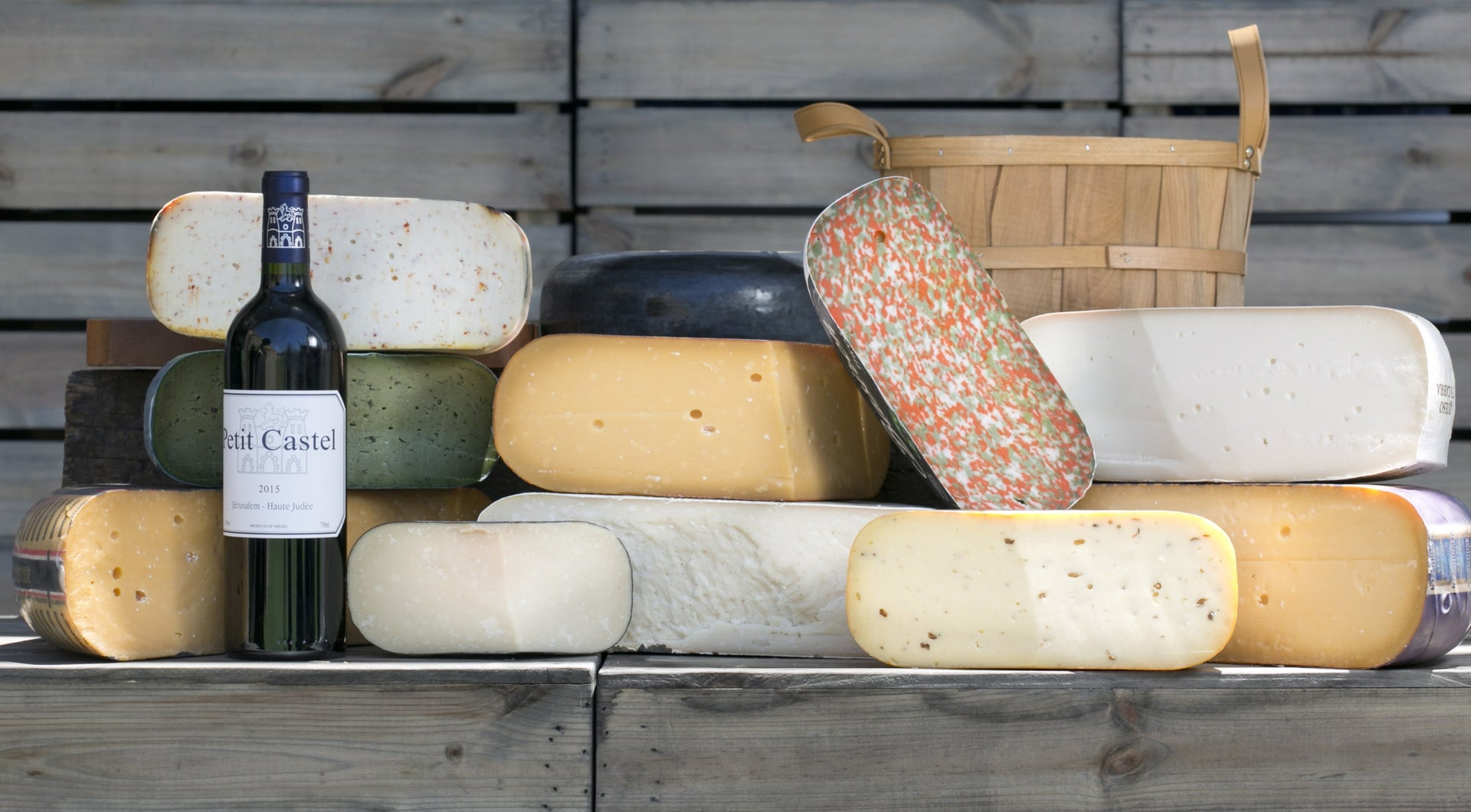 A selection of hard cheeses