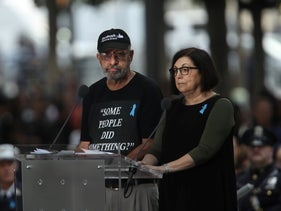 Nicholas Haros wears a shirt critical of Ilhan Omar's comments while reading names at 9/11 commemorations, New York City, September 11, 2019