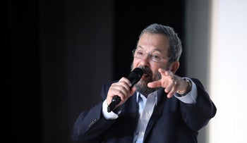 Former Prime Minister Ehud Barak in a an election campaign rally, August, 2019.