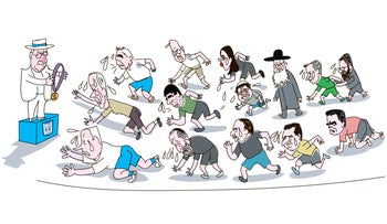 Illustration: Politicians race to a podium where Rivlin is standing with a medal.