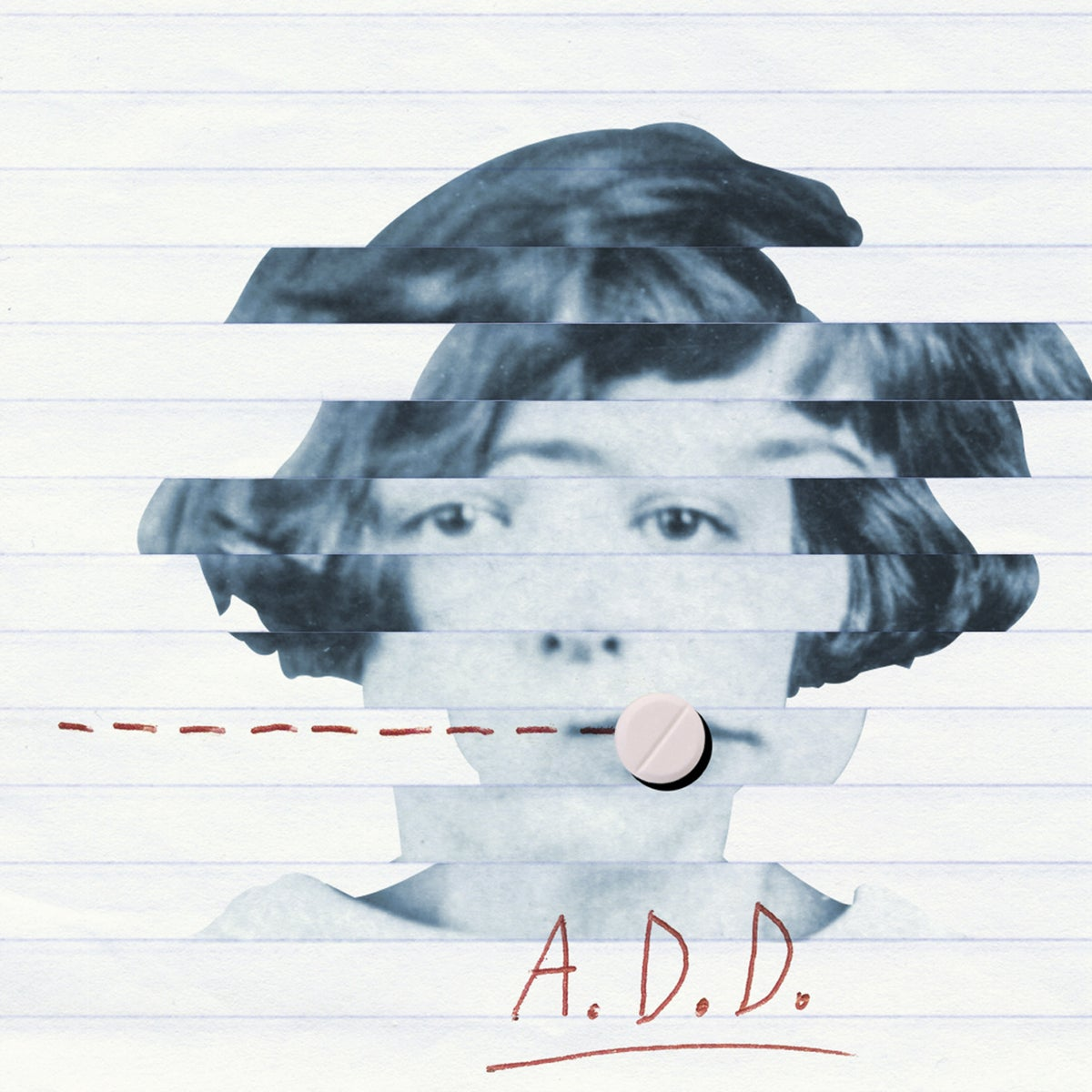 Illustration: A broken up photo of a girl, a pill, and the word A.D.D.