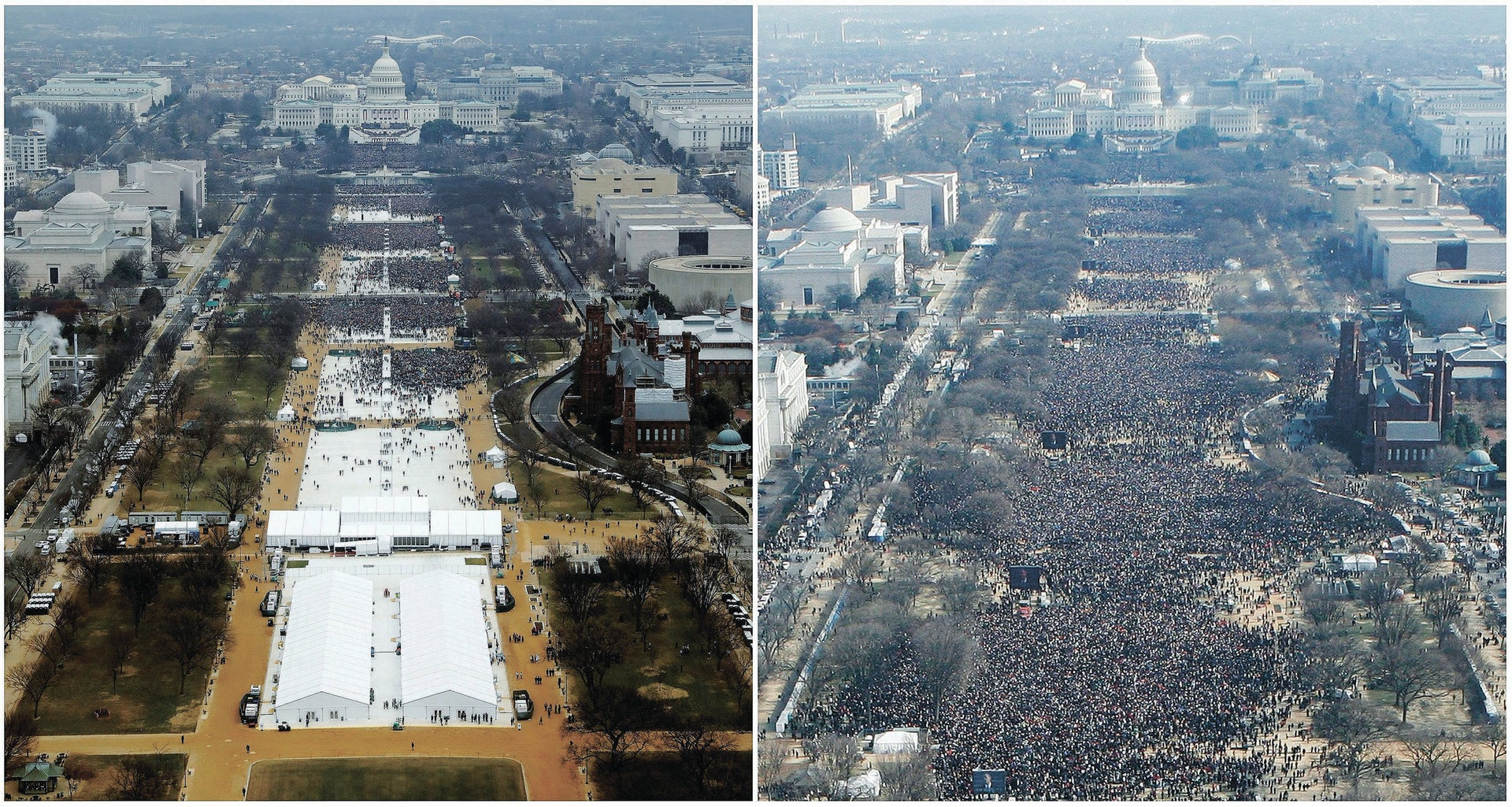 The inauguration ceremonies to swear in President Donald Trump, left, in 2017, and President Barack Obama in 2009, in Washington, D.C.