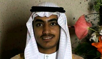 Hamza bin Laden, the son of of the late al-Qaeda leader Osama bin Laden, is seen at his wedding in an image from a video released by the CIA.