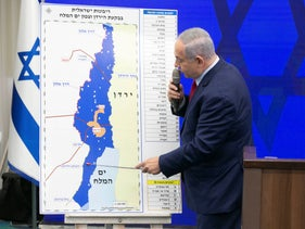 Netanyahu announces his intent to annex parts of the West Bank at a press conference, September 10, 2019.