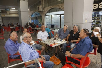 """The """"parliament"""" in session in Dimona, September 12, 2019."""