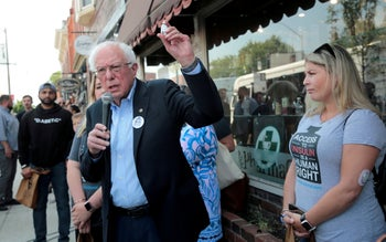 U.S. Sen. Bernie Sanders advocates for cheaper health care alongside type 1 diabetes patients, at a rally at a Canadian pharmacy after purchasing lower cost insulin in Ontario, Canada, July 28, 2019