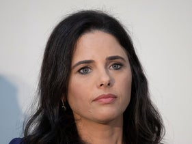 Ayelet Shaked at a campaign rally in Tel Aviv, September 5, 2019.
