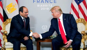 U.S. President Donald Trump meets Egypt's President Abdel-Fattah el-Sisi last month at the G7 summit in France.