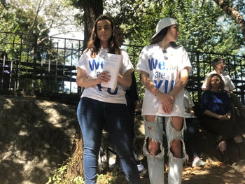 Molly Meisels and Courtney Marks stand outside Yeshvia University in New York, September 15, 2019.