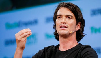 Adam Neumann speaks at the TechCrunch Disrupt event in New York City, May 5, 2017.
