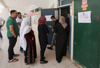 Voters cast their ballots in the Bedouin majority town ofRahat, in southern Israel, on April 9, 2019.