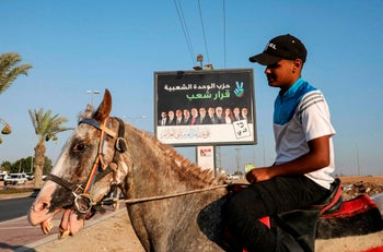 An electoral billboard in the Bedouin town of Rahat near the southern Israeli city of Beersheba, on September 10, 2019.