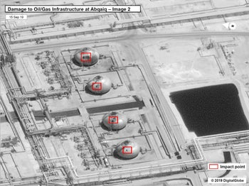 A satellite image showing damage to oil/gas Saudi Aramco infrastructure at Abqaiq, in Saudi Arabia in this handout picture released by the U.S Government September 15, 2019