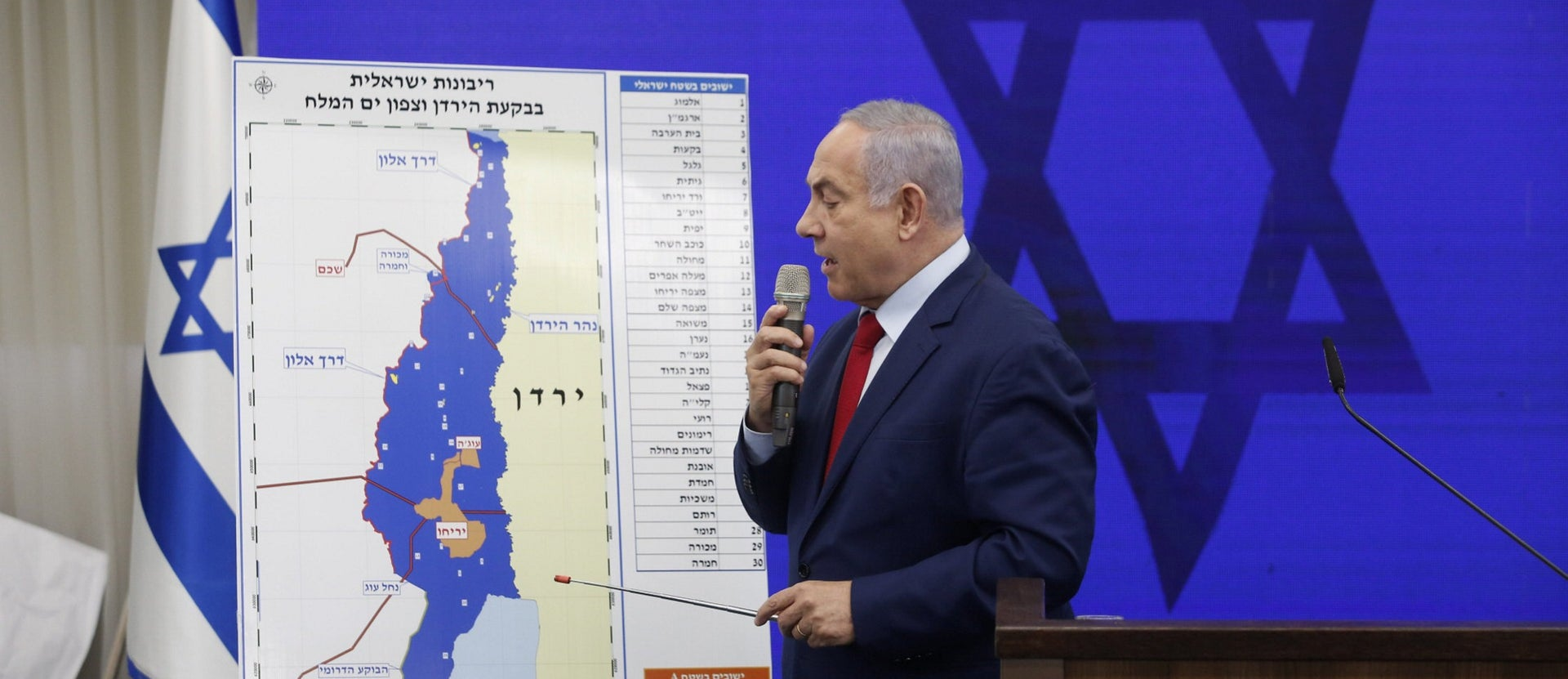 Prime Minister Benjamin Netanyahu presenting his plan for Israel to annex the Jordan Valley if he is reelected, September 10, 2019.