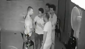 Convicted officer shown on security camera footage confronting four Eritrean men at a bar in 2016.