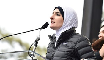 Linda Sarsour speaks onstage during the Women's March on Washington on January 21, 2017.