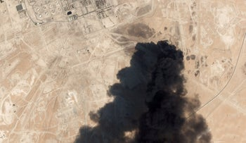 Satellite overview image shows damage to oil/gas infrastructure from weekend drone attacks at Abqaig on September 14, 2019 in Saudi Arabia.