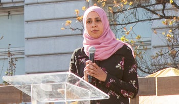 Zahra Billoo of the Council on American Islamic Relations (CAIR) speaks at the 2018 Women's March San Francisco.