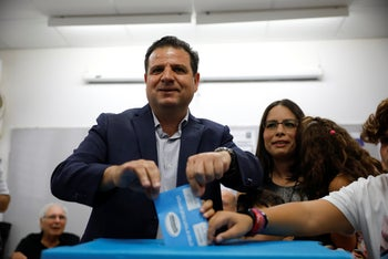 Ayman Odeh casts his vote in Haifa, September 17, 2019.