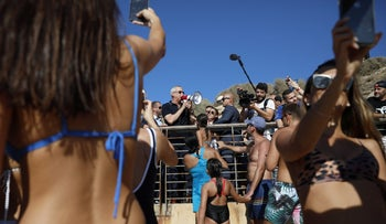 In April, Netanyahu made a surprise visit to the beaches near Tel Aviv, exhorting sunbathers to go home and vote. This time, Kahol Lavan's Benny Gantz and Yair Lapid did the same, as did Yamina's Ayelet Shaked