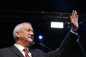Benny Gantz, speaking to supporters after taking the lead in Israeli election 2019