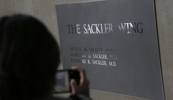 A sign with some names of the Sackler family at New York's Metropolitan Museum of Art, January 17, 2019.
