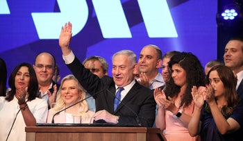 Benjamin Netanyahu arrives at the Likud party headquarters following the announcement of exit polls during Israel's parliamentary election in Tel Aviv, Israel September 18, 2019.
