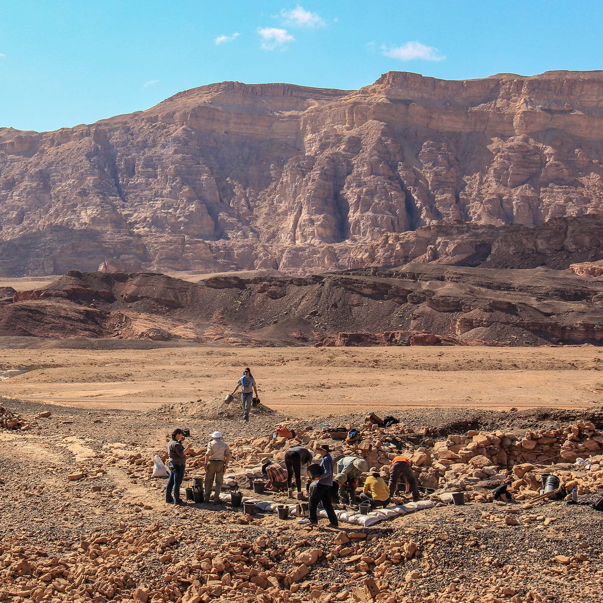 "Archaeologists working on ""Slaves' Hill,"" the main copper smelting site at Timna"