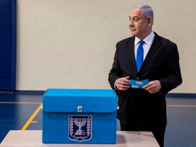 Israeli Prime Minister Benjamin Netanyahu casts his vote at a voting station in Jerusalem on September 17, 2019