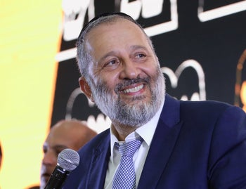 Shas Chairman Arye Dery at campaign headquarters on September 17, 2019.
