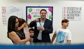 Joint List leader Ayman Odeh voting in Haifa on Election Day, September 17, 2019.