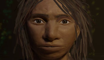 This image shows a preliminary portrait of a juvenile female Denisovan, based on a skeletal profile reconstructed from ancient DNA methylation maps.
