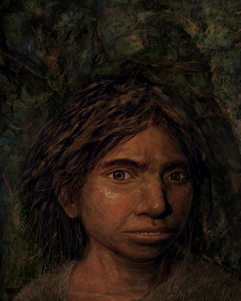 This image shows a portrait of a juvenile female Denisovan, based on a skeletal profile reconstructed from ancient DNA methylation maps.