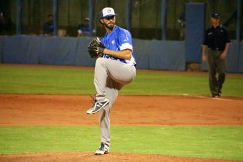 Joey Wagman pitching during the Israel-Spain qualifier, Bologna, Italy, September 18, 2019