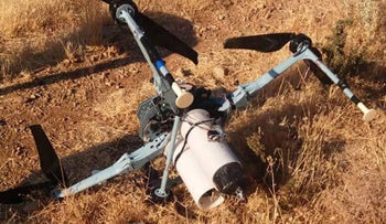 A drone that was allegedly shot down by Syria in the outskirts of Jabal al-Sheikh in the north of Quneitra province, September 21, 2019.