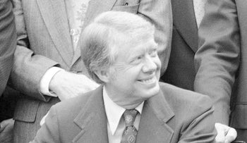 President Jimmy Carter after signing a law in the White House Rose Garden, April 1978.