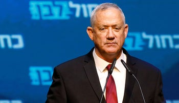 Kahol Lavan leader Benny Gantz at his party's headquarters after exit poll results are announced on the night of the September 2019 election.